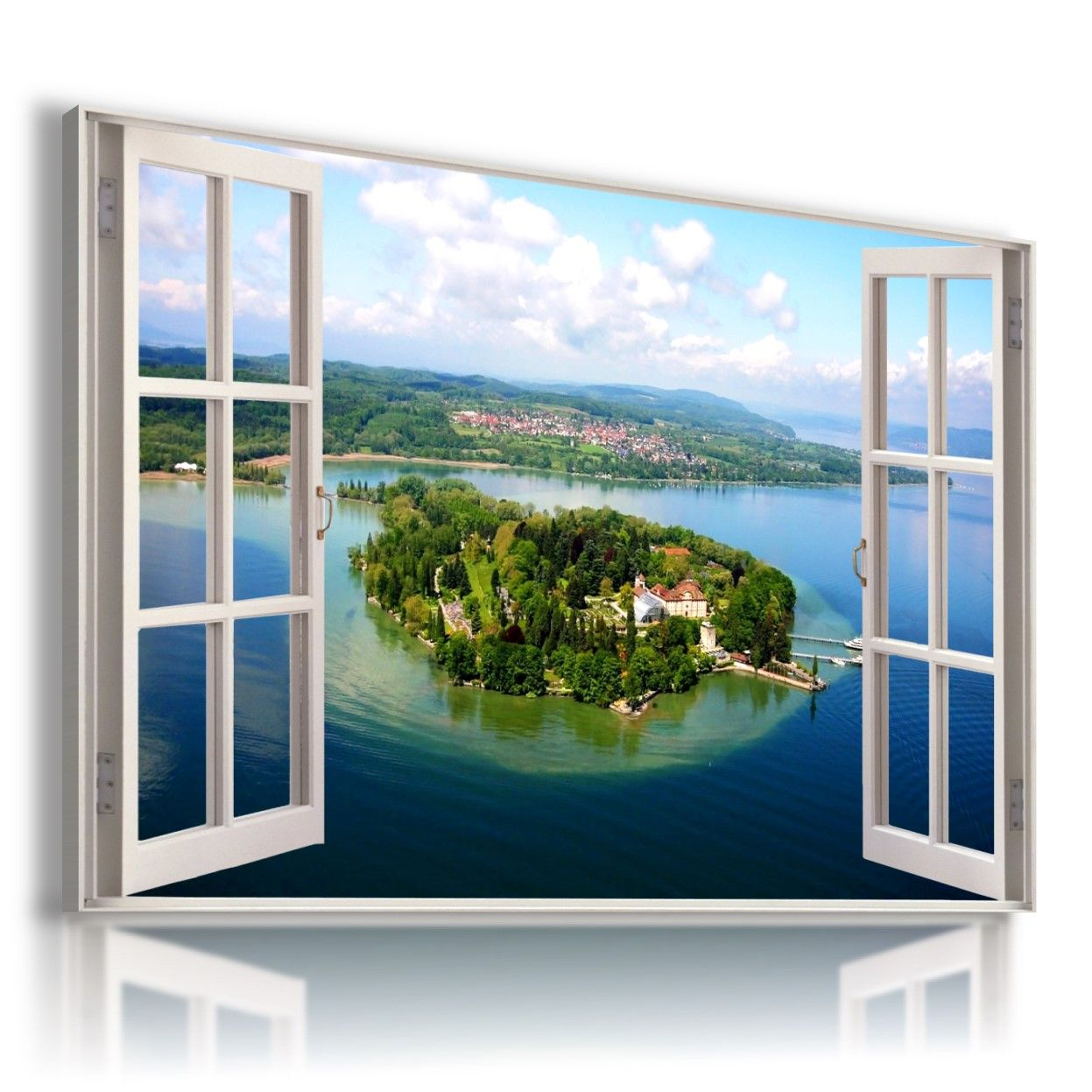 GREECE BEAUTIFUL TOWN 3D Window View Canvas Wall Art Picture W421  MATAGA .