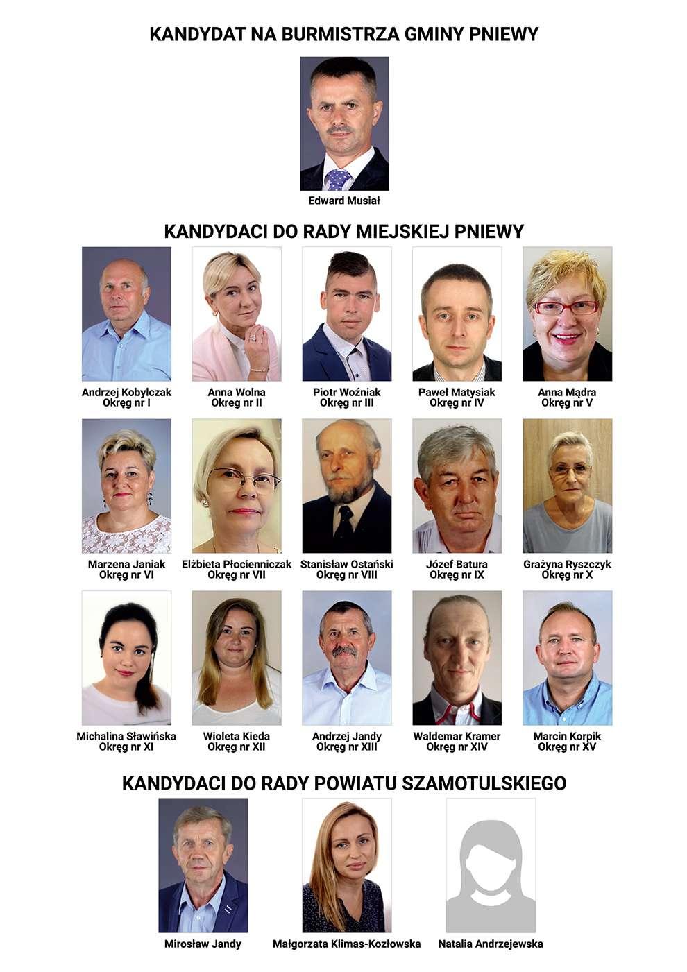 Komitet Wyborczy Wyborców Wspólnie dla Miasta iGminy Pniewy prezentuje swoich kandydatów