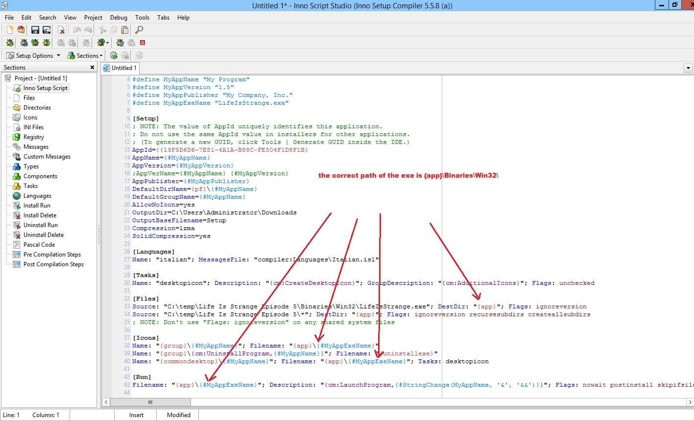 Inno Setup Studio - Install the main application executable file to