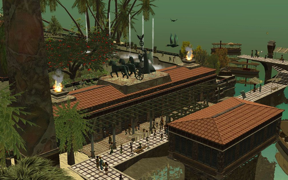 My Projects - CSO's I Have Imported, Landscaping and Park Grounds - Screenshot of Quadriga and Flaming Urns Atop Pool Changing Rooms/Pool Amenities Building, Distant View Including More Of Park Surroundings, Image 11