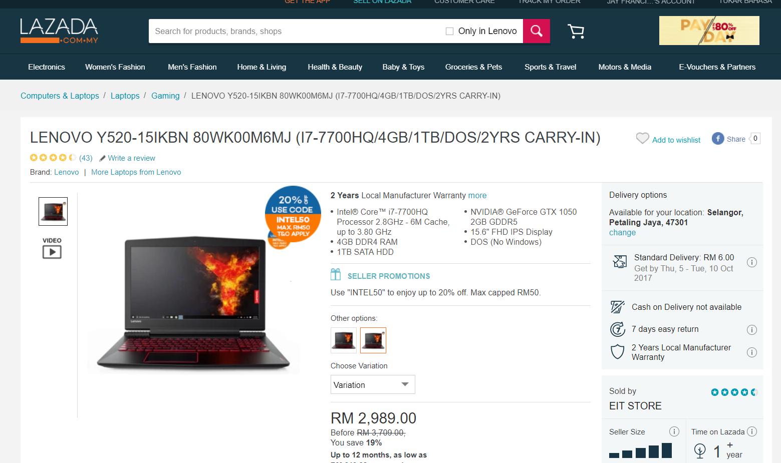 WTS] Lenovo Legion Y540 / Y740 Gaming Laptop
