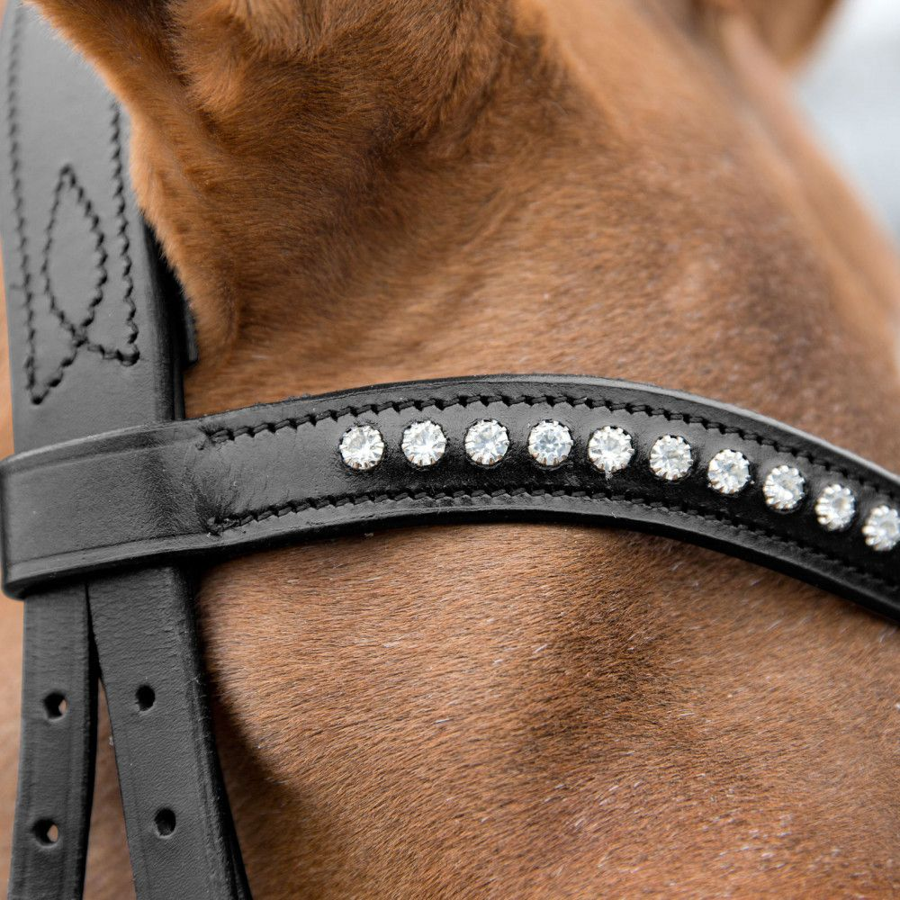 Horze-Athena-Leather-Snaffle-Bridle-with-Curved-Browband-and-Detachable-Flash miniature 8