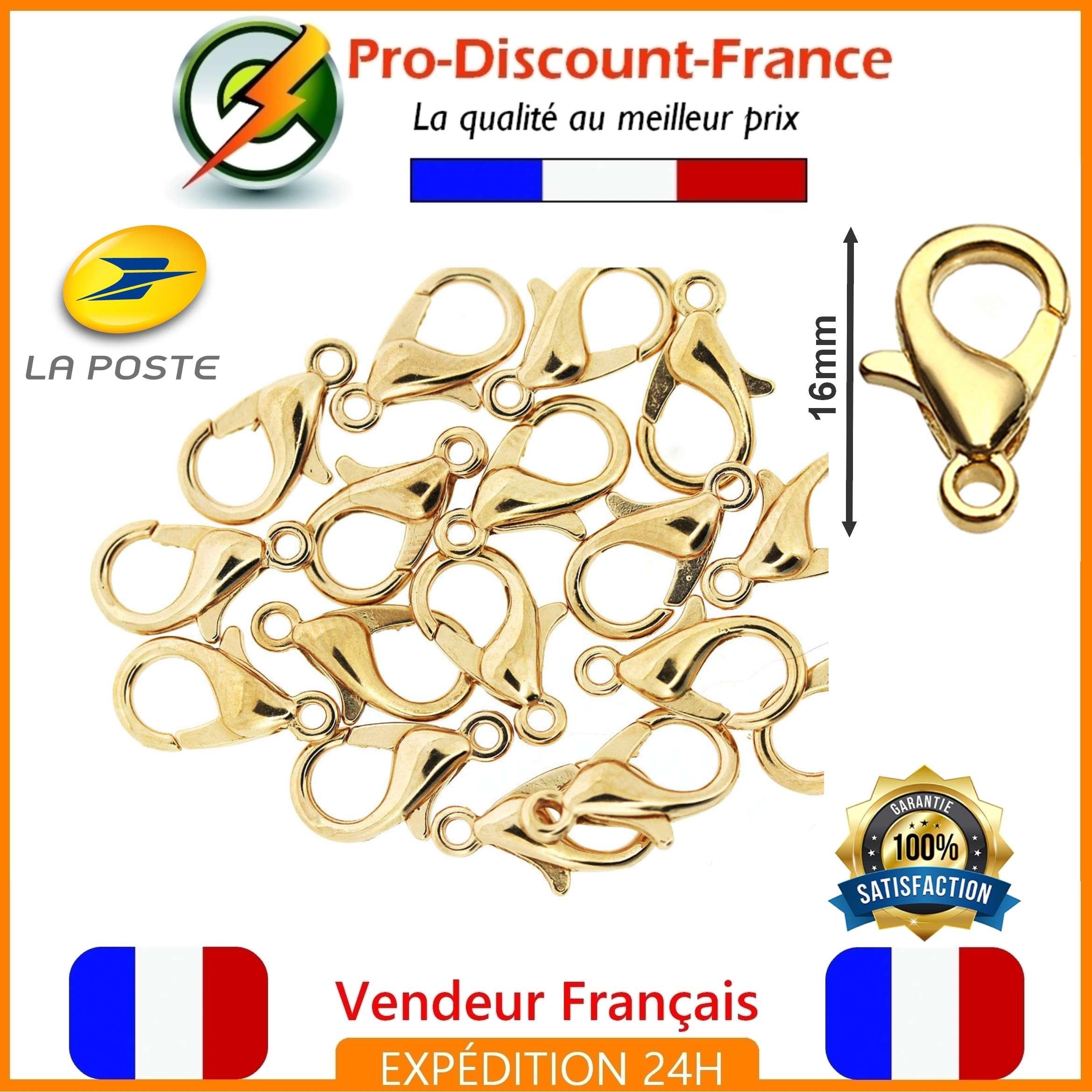Lot Fermoir Mousqueton 16mm Doré Lot de 1,3,10 ou 20 Bijoux Bracelet Perles
