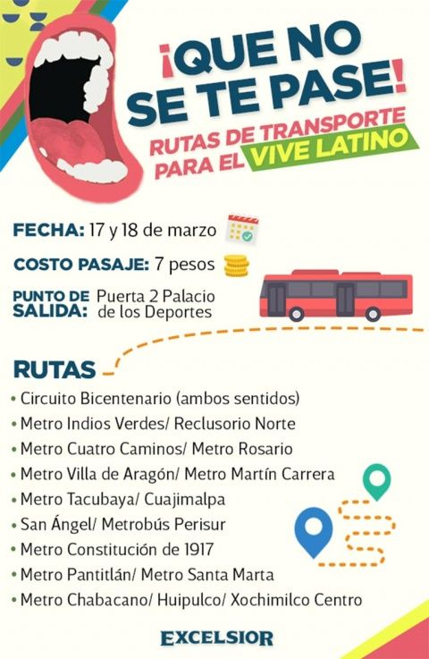 Ruta de Transporte para Vive Latino 2018