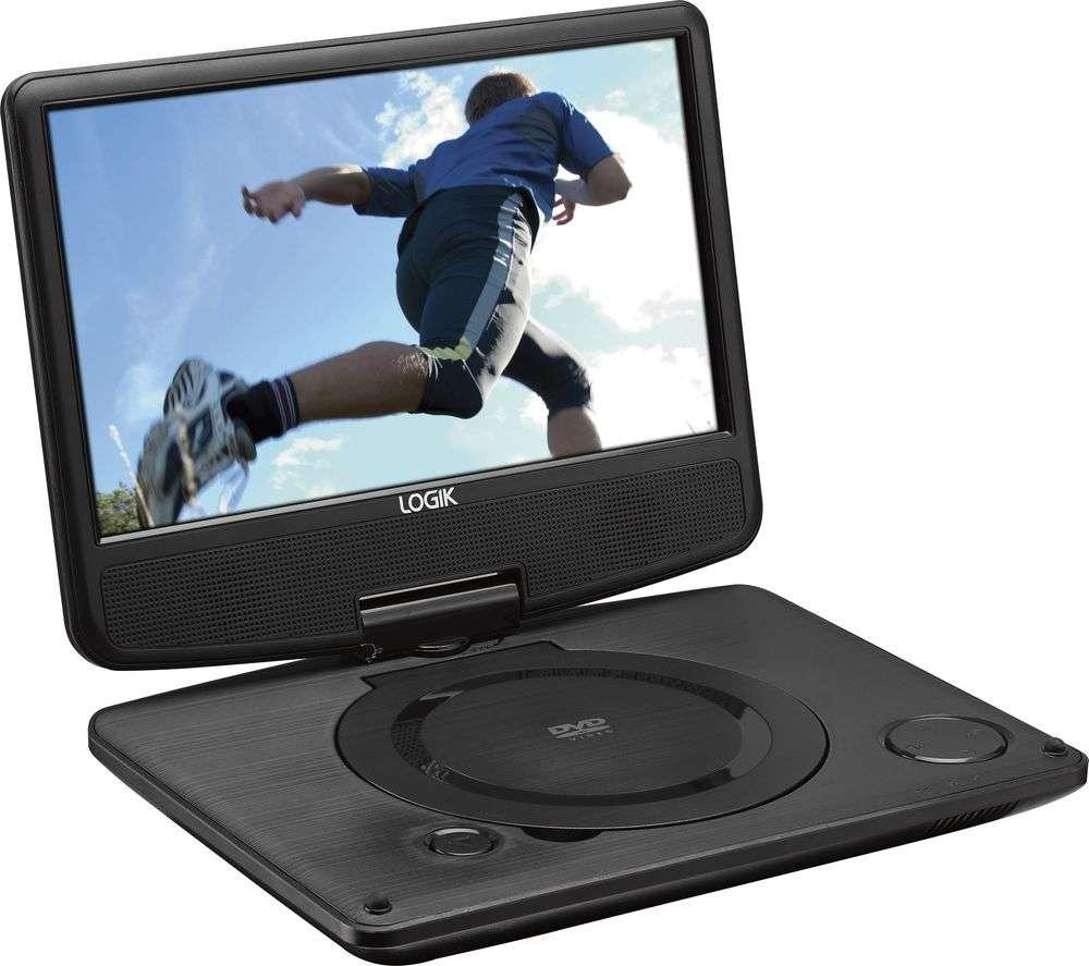 logik l9spdvd16 9 inch portable dvd player swivel screen. Black Bedroom Furniture Sets. Home Design Ideas