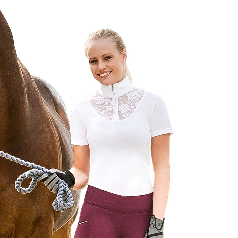 Horze-Women-039-s-UV-Quick-Dry-Lace-Detail-Show-Shirt-with-Zipper-at-Collar thumbnail 8