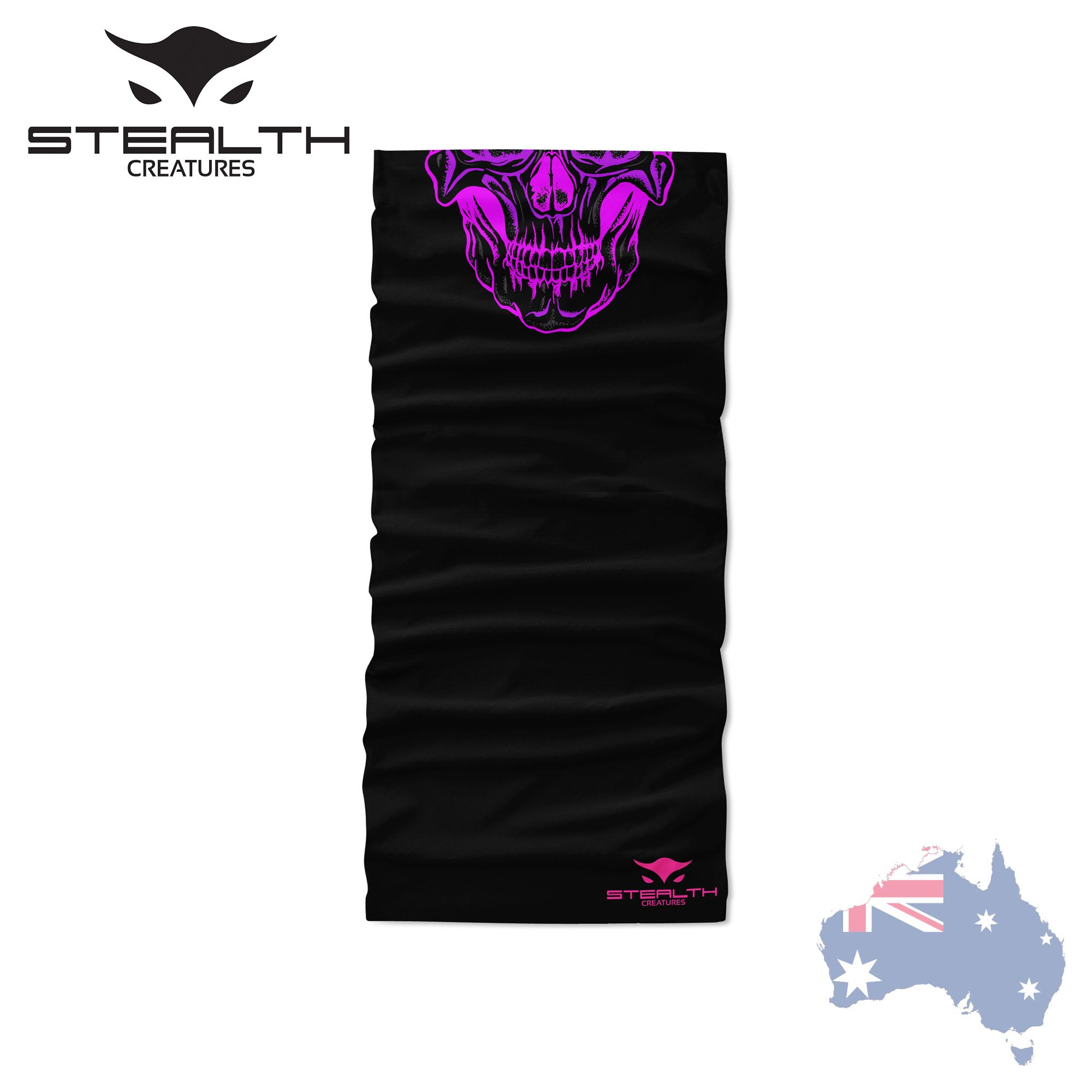 Fluro Pink Bandana Mask Neck Scarf Headwear UV Stealth Creatures Face Sock™