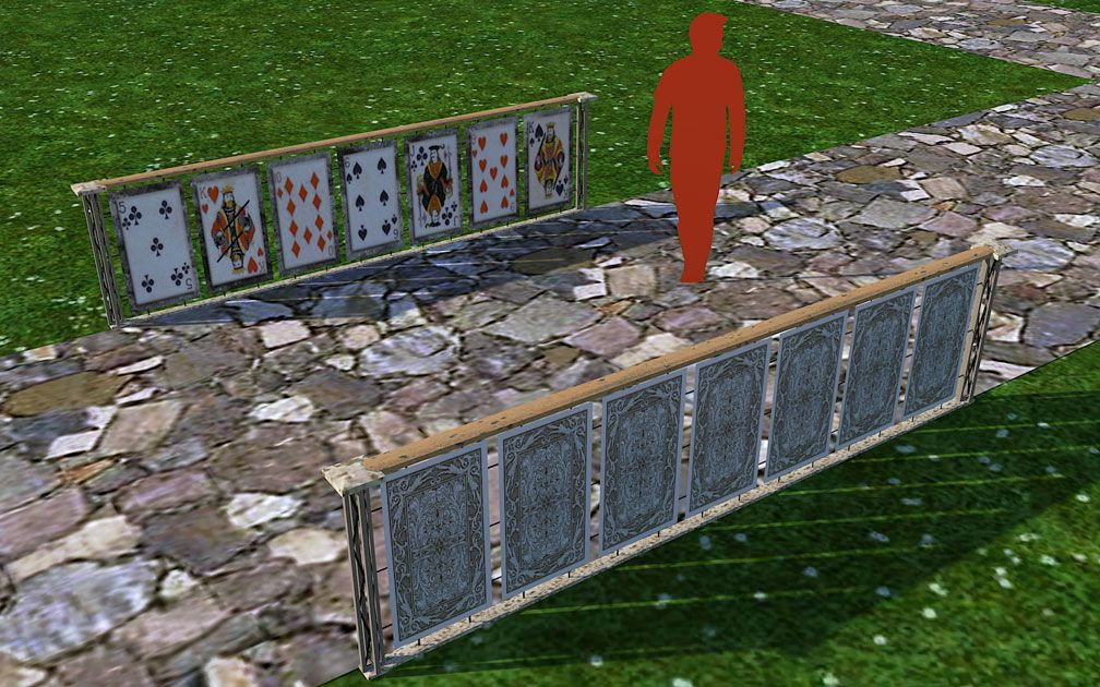 My Adventures In SketchUp: Playing Card Railings - Screenshot Displaying Set Pieces With Path, A, Image 01