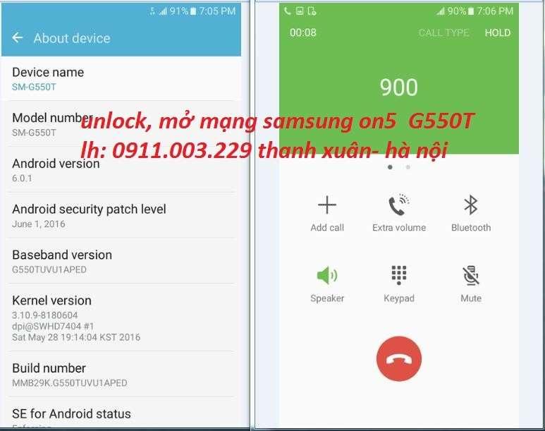 UNLOCK, MỞ KHÓA MẠNG SAMSUNG ON5 G550T G550T1 Galaxy ON5 T-Mobil