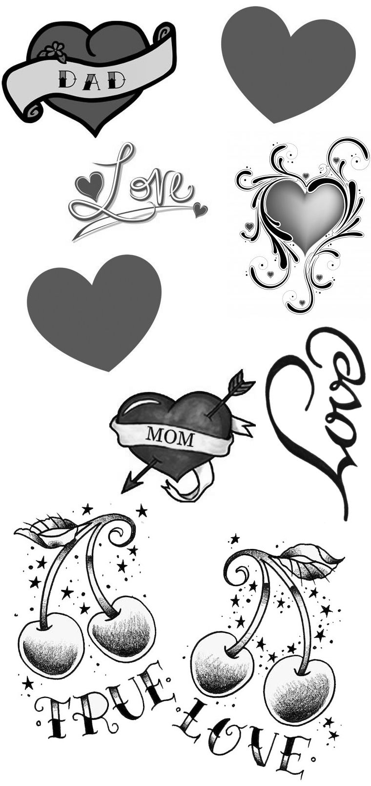 2 Love Heart Temporary Fake Tattoos Waterpoof Mom Dad affection Body ...