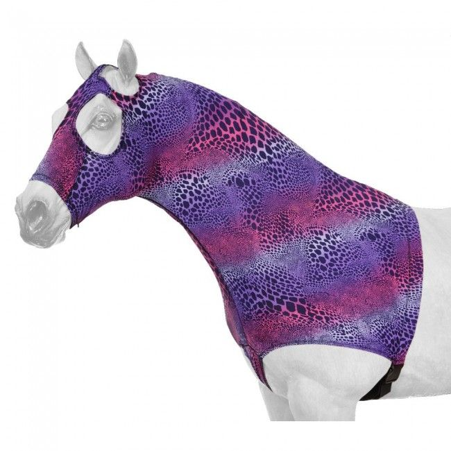Tough-1 Spandex Mane Stay Horse Horse Horse Hood in Prints with Wide Elastic Belly Wrap e6463e