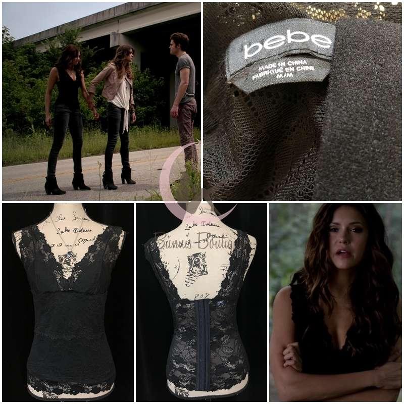 20294d861000d ASO Katherine Pierce Bebe V-Neck Lace Top Sz M The Vampire Diaries ...