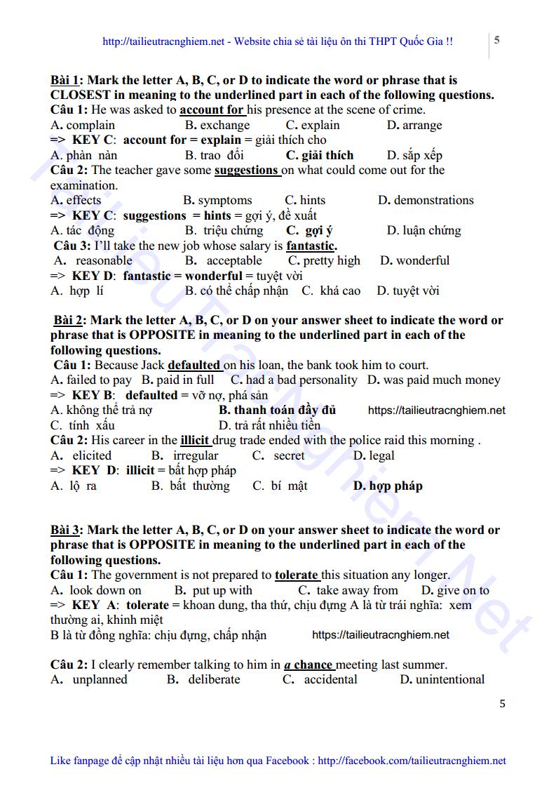 Bài tập từ đồng nghĩa, trái nghĩa tiếng Anh cô Mai Phương