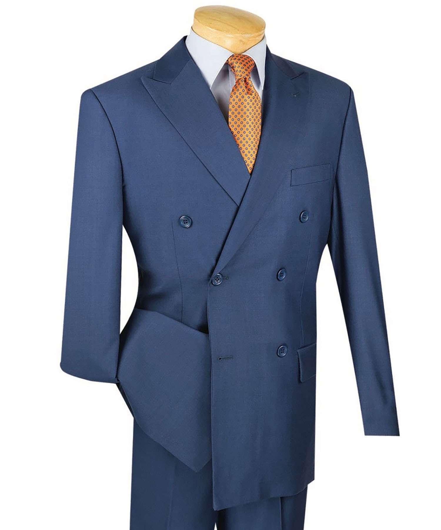 Vinci Men\'s Blue Double Breasted 6 Button Classic-Fit Suit NEW | eBay