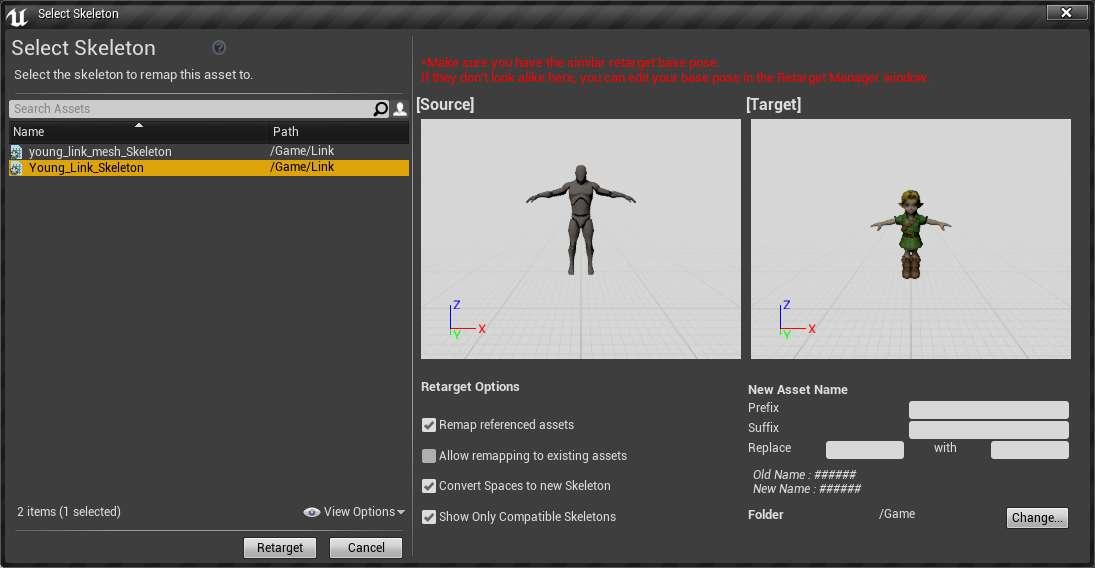 Animation retargeting custom Skeleton on UE4 Skeleton problem