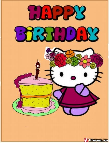 Hello Kitty Birthday Cake 1 Coloring Page - Free Coloring ...
