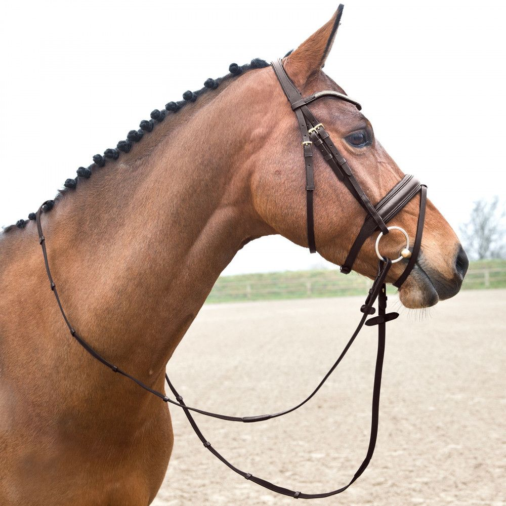 Horze-Crescendo-Lester-Snaffle-Bridle-with-U-Shaped-Browband-and-Anti-Slip-Reins miniature 14