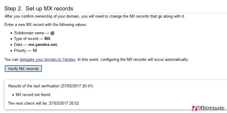 Giúp đỡ về MX tới yandex com