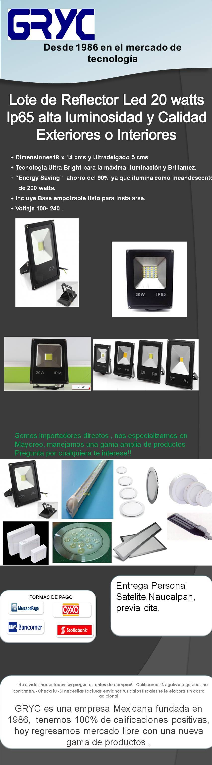 lote de 5 reflector led ip65