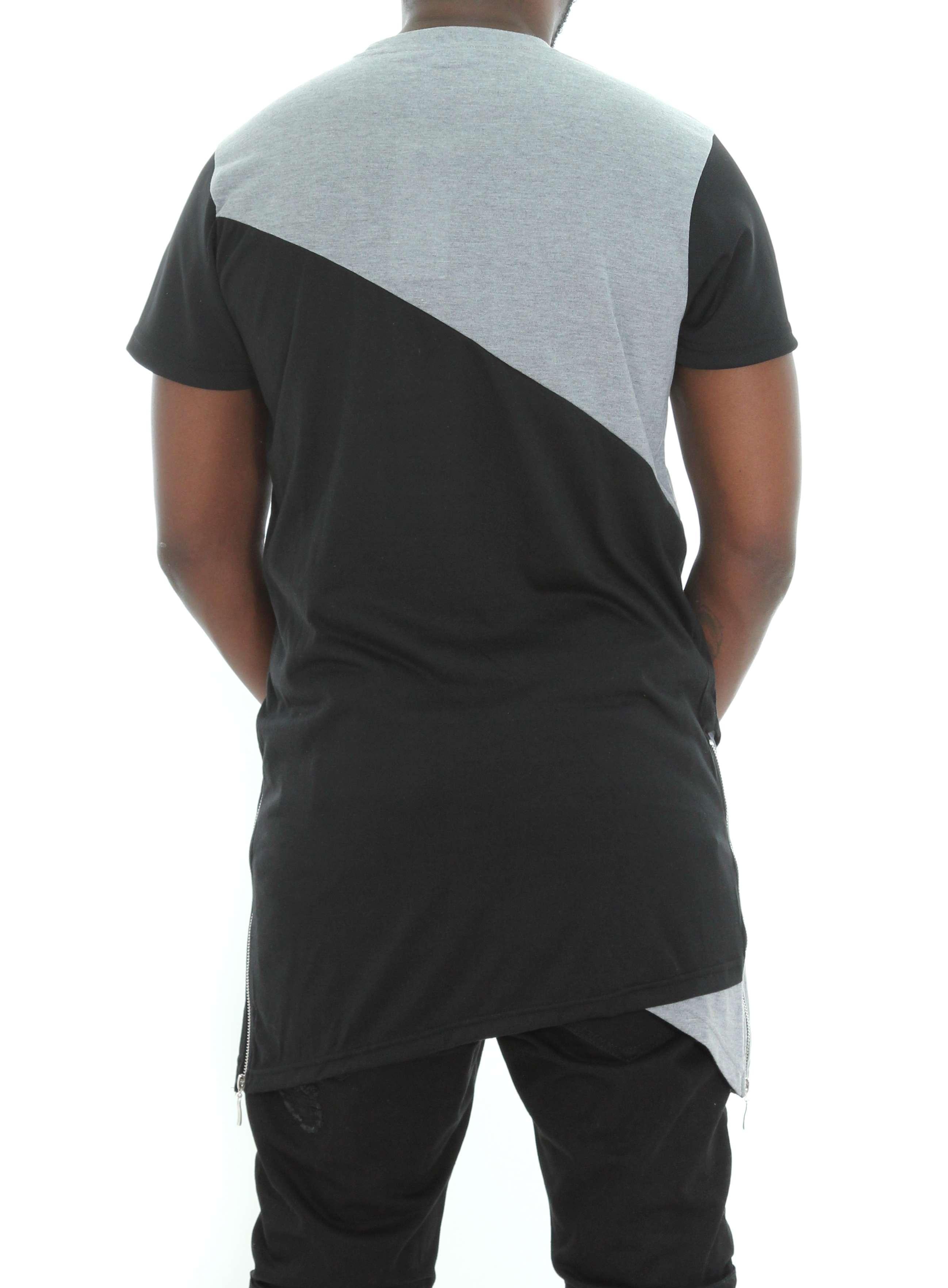 Imperious-Men-039-s-Colorblock-Asymmetric-Hem-Side-Zipper-Longline-T-Shirt thumbnail 8