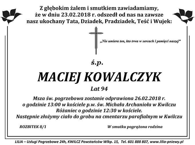 Żyli wśród nas – Maciej Kowalczyk