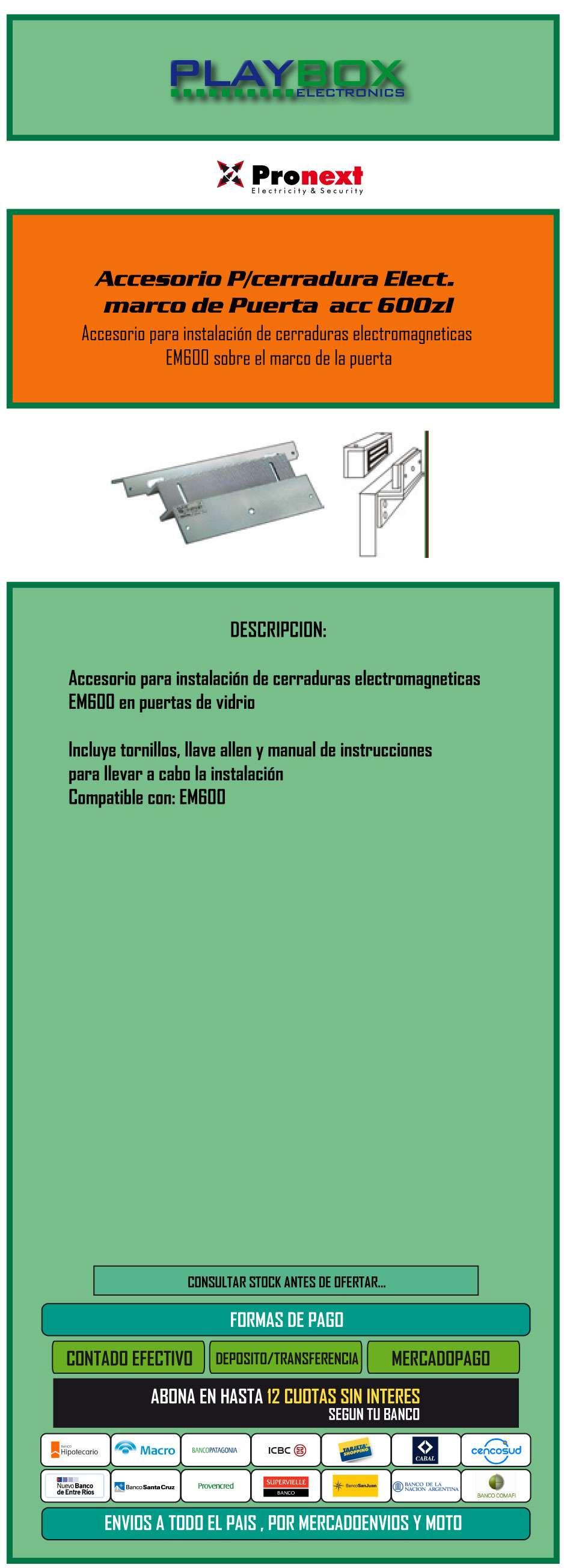 Accesorio P/cerradura Elect. Marco De Puerta Acc 600zl ...