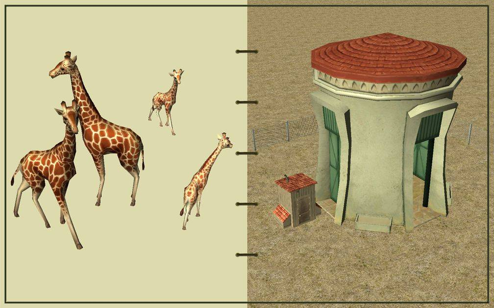 Image 05, RCT3 FAQ, Volitionist's RCT3 Animal Care Guide, Page 2: Giraffes And Giraffe House With Chain Fence