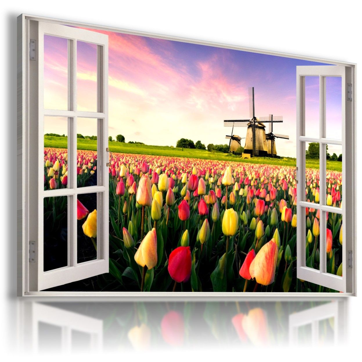 WINDMILL TULIPS FLOWERS 3D Window View Canvas Wall Art Picture  W234 MATAGA .