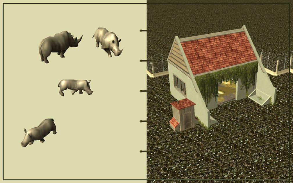 Image 19, RCT3 FAQ, Volitionist's RCT3 Animal Care Guide, Page 3: Rhinos And Large Herbivore House With Electric Fence