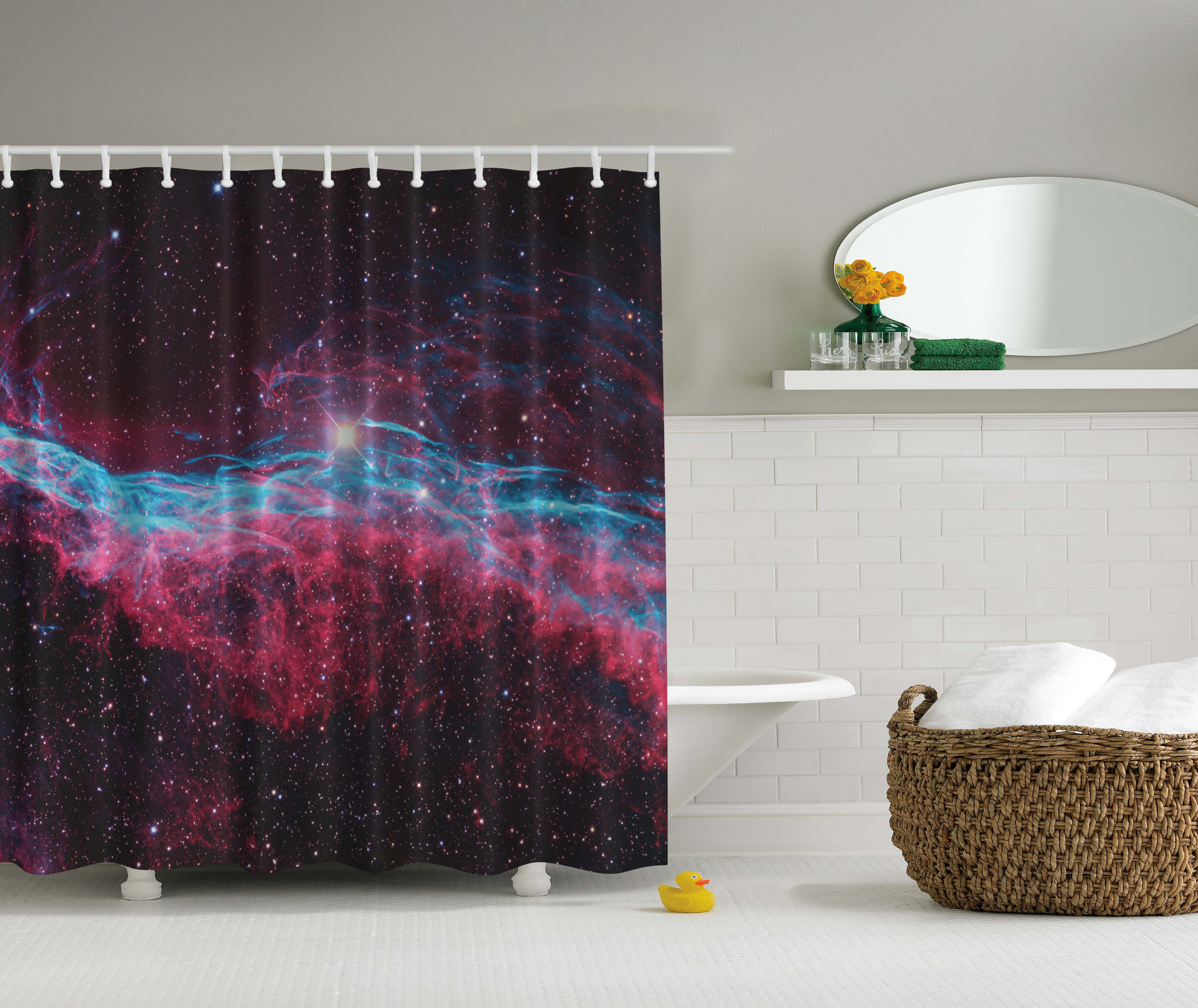 Science for kids bath decor outer space galaxy print stars for Decor outer space
