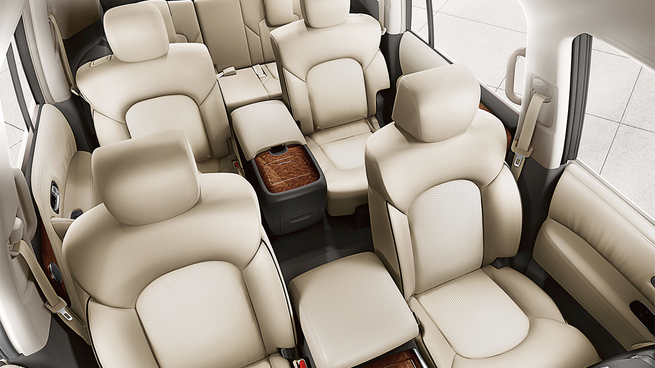 Nissan Armada Platinum Interior Shown In Almond Leather With Captain S Chairs