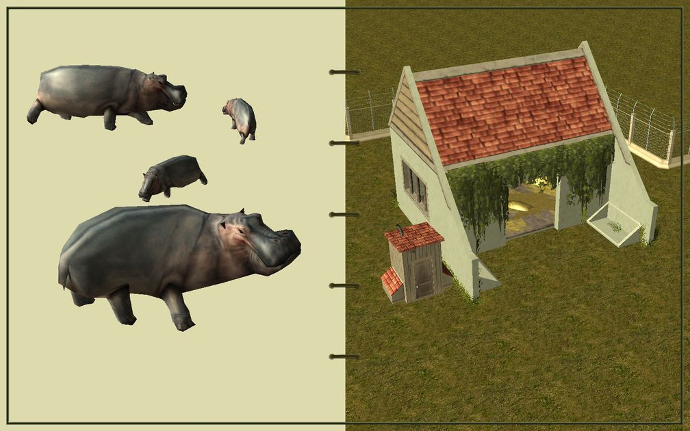 Image 08, RCT3 FAQ, Volitionist's RCT3 Animal Care Guide, Page 2: Hippos And Large Herbivore House With Electric Fence