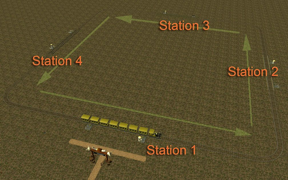 Image 08, Park Shuttle Configurations - Arrows Showing Default Direction of Travel With Numbered Stations