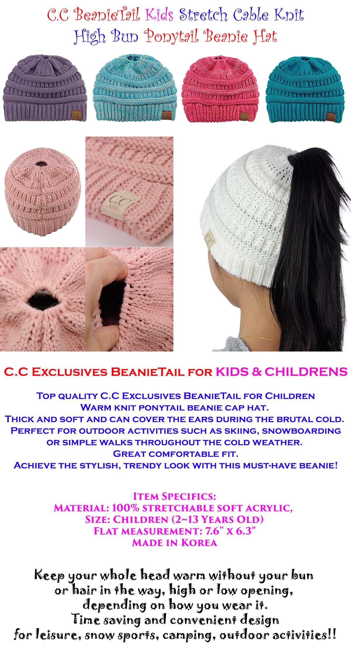 Kids CC Ponytail Beanie Children Soft Cable Knit Messy High Bun CC