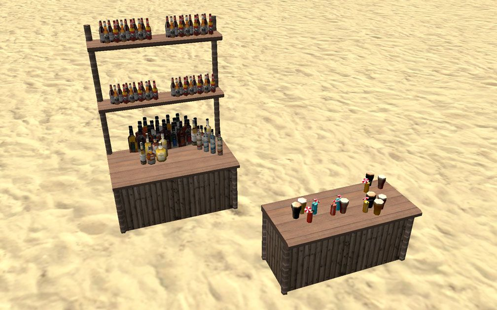 Showcase! Winter 2017 - Mr. Sion's Tiki Bar - Image 07: Both Bar Units with All Drinks Displayed