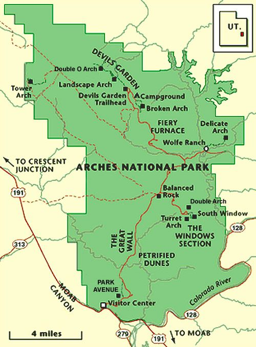 ARCHES PARK MAPA