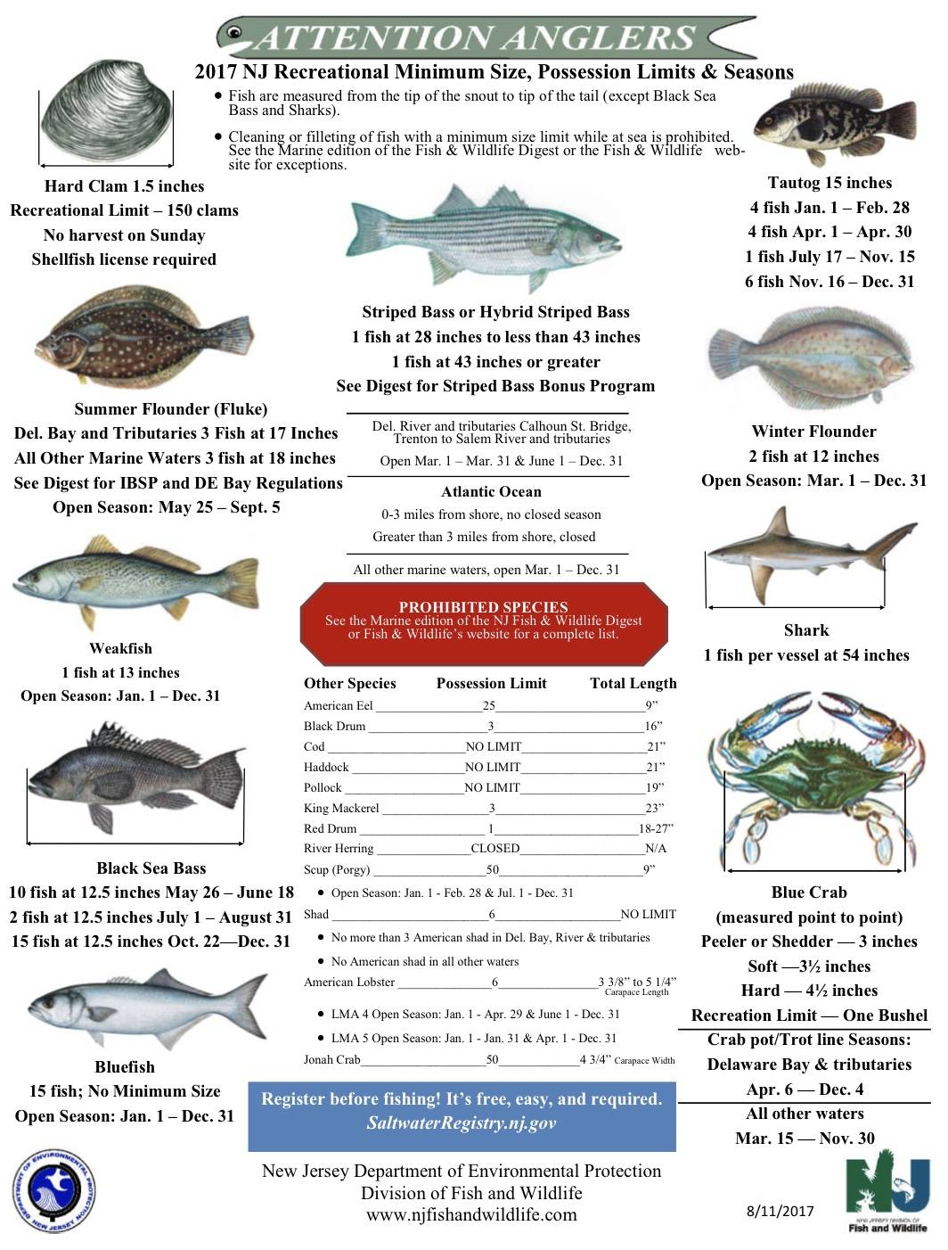 Nj recreational marine fishing regulations for Ct fishing license