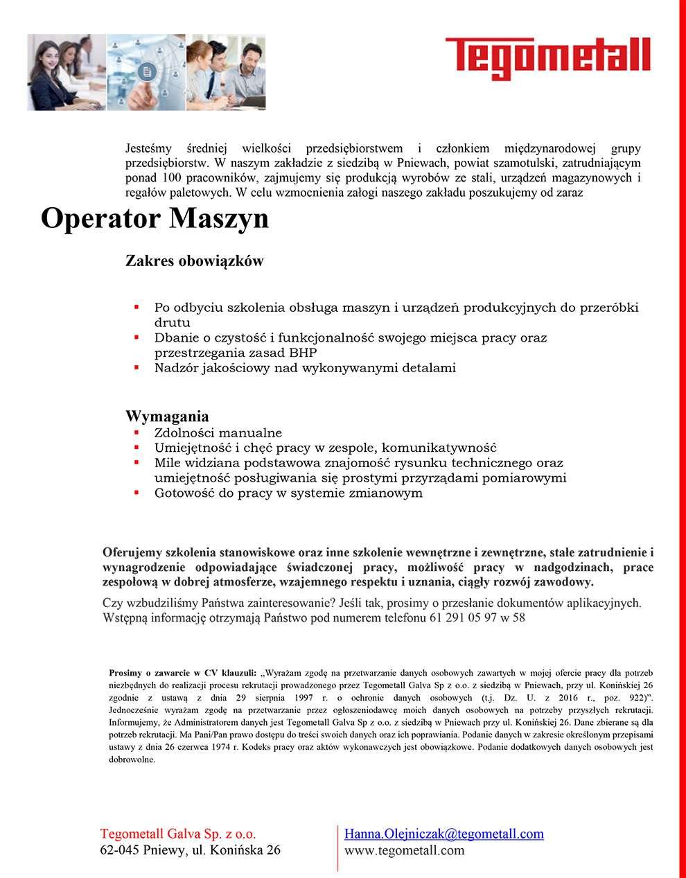 Praca dla operatora maszyn