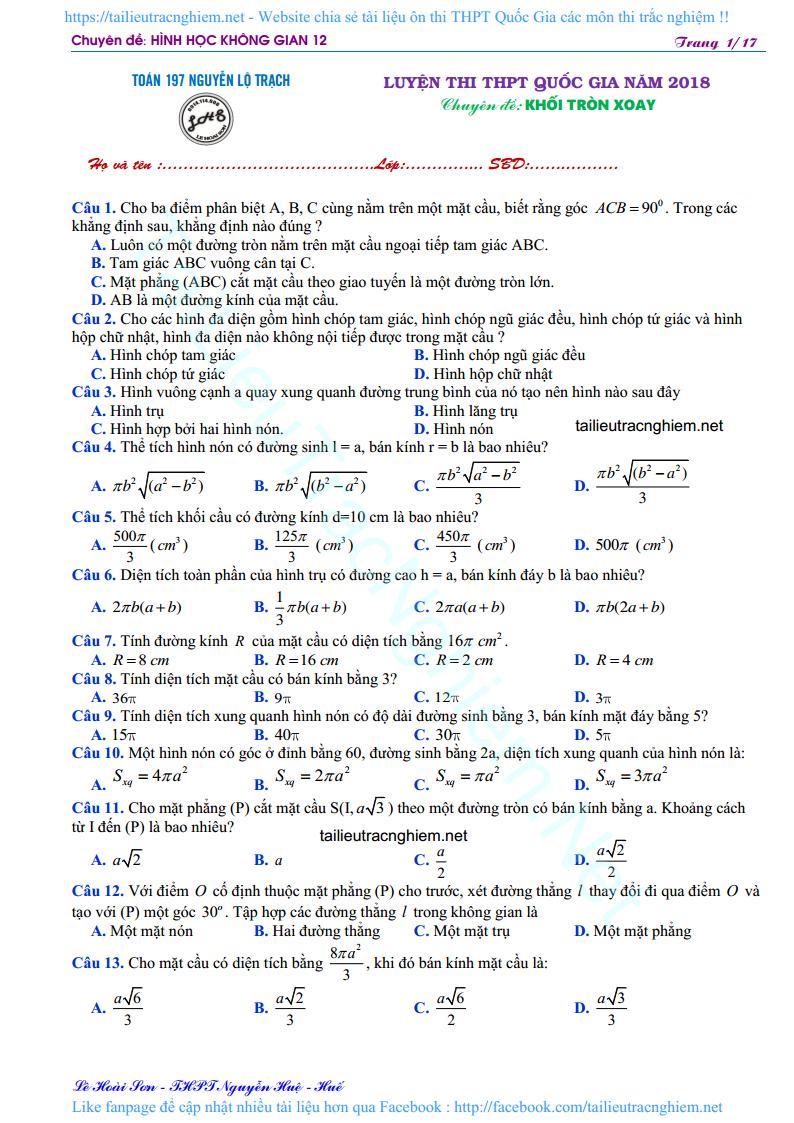 200 bài tập trắc nghiệm Khối Tròn Xoay hình không gian 12