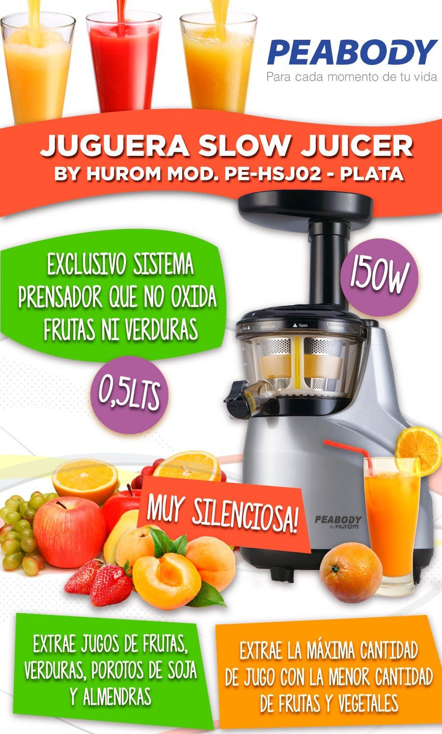 Melhor Slow Juicer Do Mercado : Juguera Slow Juicer Peabody Hurom 150w Acero Extractor Envio Confort Sur