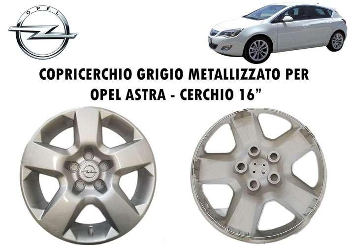 """KIT 4 COPRICERCHI COPPA RUOTA CERCHIO PER AUTO OPEL DA 16/"""" GRIGIO METALLIZZATO"""