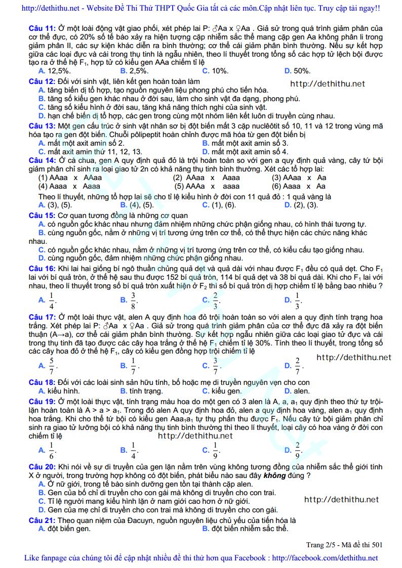 De thi thu mon Sinh Hoc 2017 so GD & DT Bac Ninh trang 2