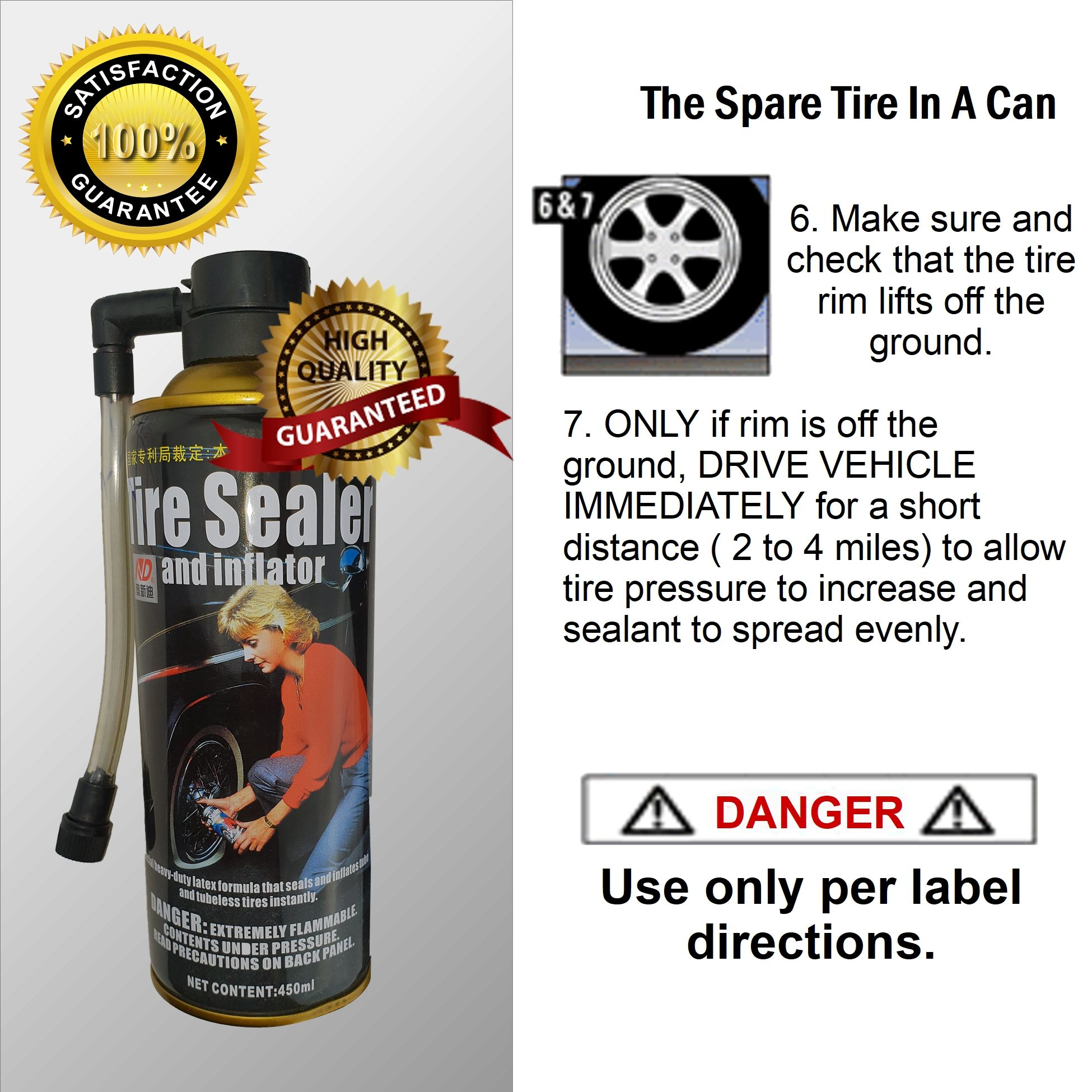 CAR SUV 4WD PUNCTURED FLAT TYRE INFLATOR SEALER FIX-A-FLAT ...