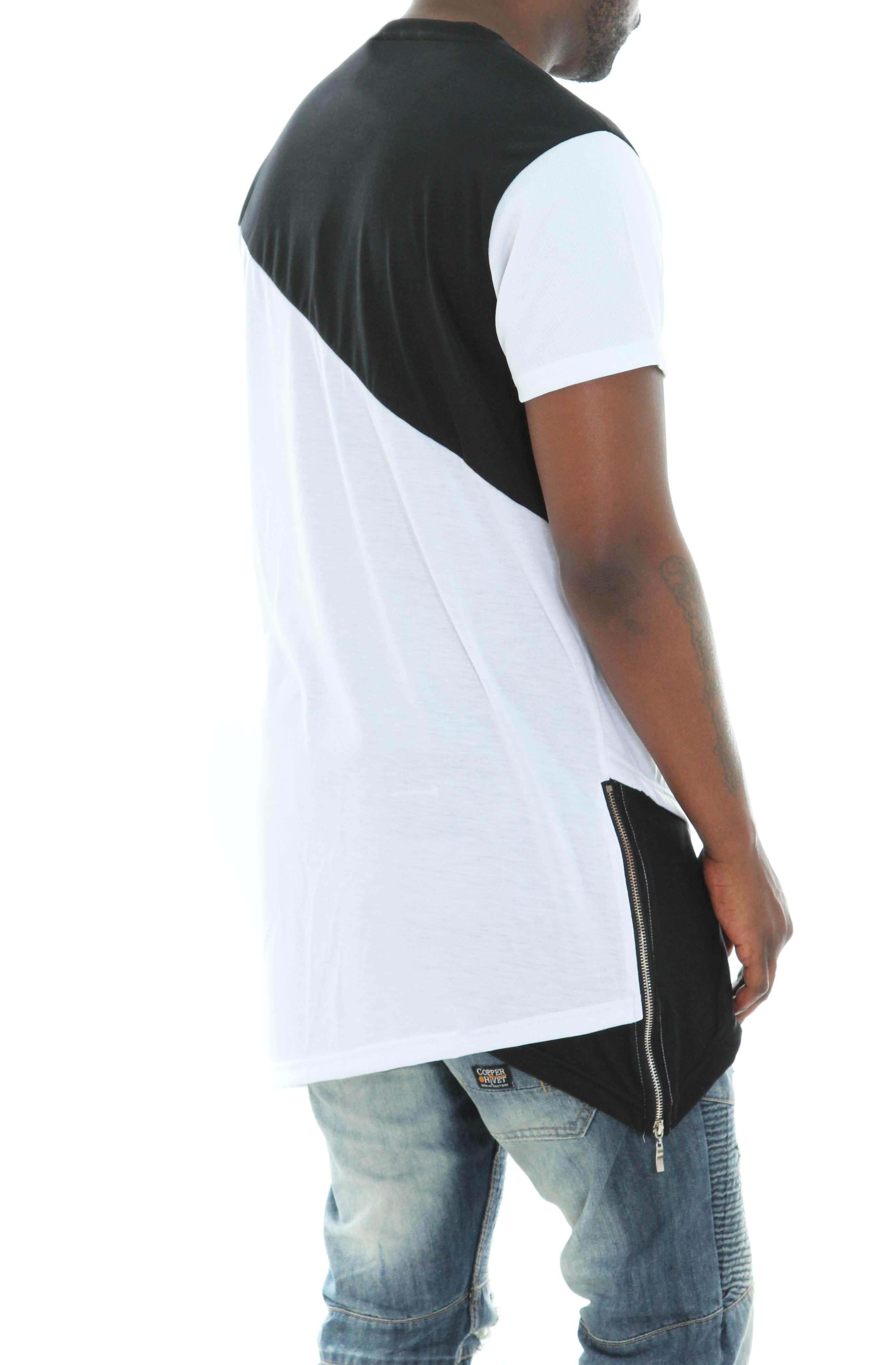 Imperious-Men-039-s-Colorblock-Asymmetric-Hem-Side-Zipper-Longline-T-Shirt thumbnail 15