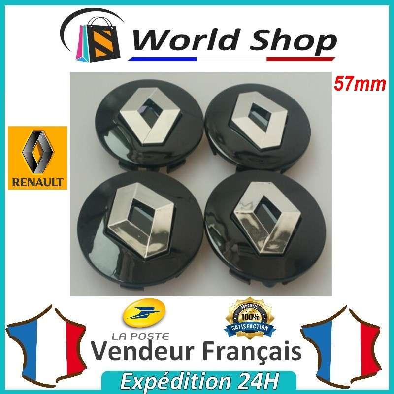 4 x centres de roue renault 57mm cache moyeu 57 mm sigle logo emblem centre noir ebay. Black Bedroom Furniture Sets. Home Design Ideas