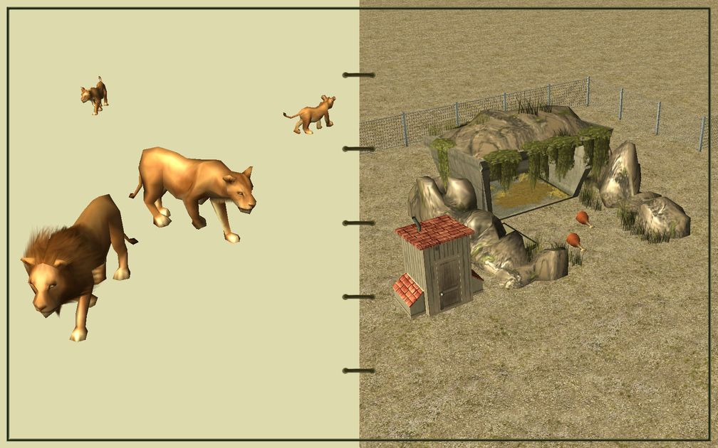 Image 12, RCT3 FAQ, Volitionist's RCT3 Animal Care Guide, Page 3: Lions And Carnivore House With Chain Fence