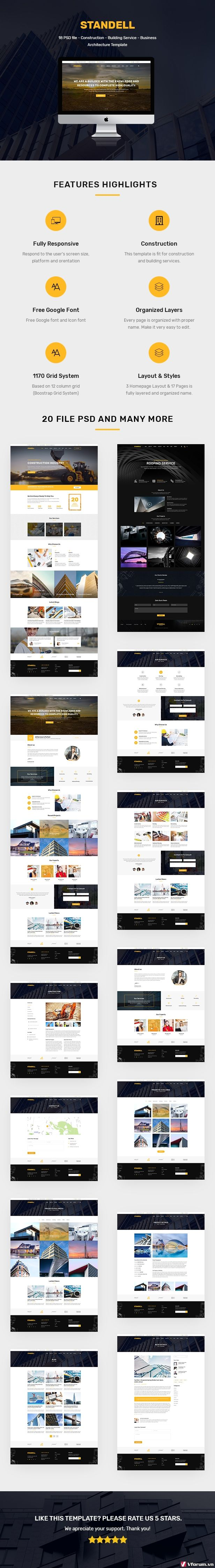 Standell | Multipurpose Construction PSD Template - 1