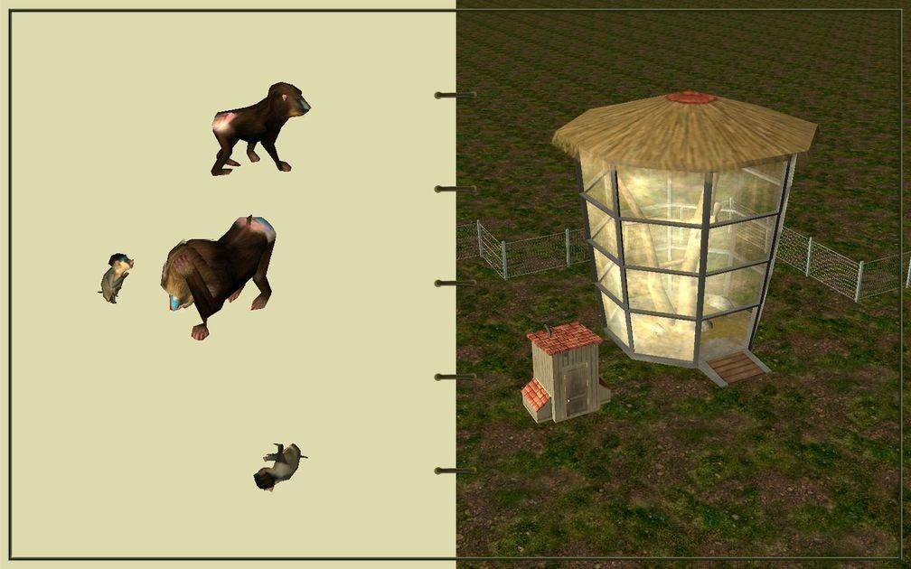 Image 13, RCT3 FAQ, Volitionist's RCT3 Animal Care Guide, Page 3: Mandrills And Ape House With Chain Fence