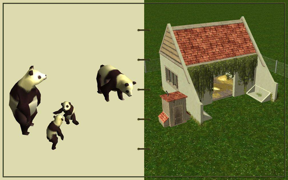 Image 16, RCT3 FAQ, Volitionist's RCT3 Animal Care Guide, Page 3: Pandas And Large Herbivore House With Chain Fence