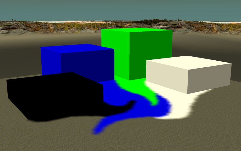 My Downloads - TexMod Packs: Chroma Key Terrain - Screenshot Displaying All Four Cliff ReTextures and All Four Terrain ReTextures In Demo Park, Image 01